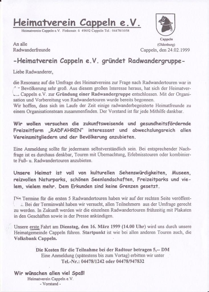 1. Rundschreiben der Radwandergruppe des Heimatverein Cappeln e.V.